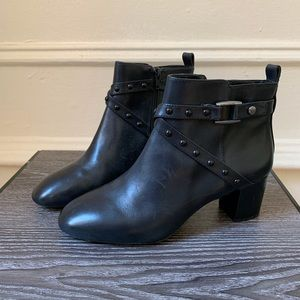 Alex Marie Black Leather Ankle Booties
